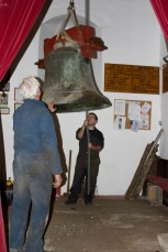 Bells being removed for installation of the new bell frame 2009